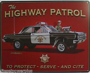 Vintage Tin Metal Sign Highway Patrol cop Plymouth cornet 426 Hemi Mopar