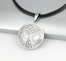 Silber Edelstahl Keltischer Schmuck Muschel Anhänger Schwarz Leder Halskette