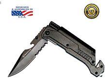 Black 6-in-1 Pocket Knife Fire Starter LED Light Flint Seat Belt Cutter Window