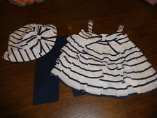 BOUTIQUE KATE MACK 2T NAVY BLUE AND WHITE RUFFLED SHIRT SHORT HAT SET