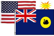 3x5 3'x5' Wholesale Set (2 Pack) Usa American & Western Australia Flag Banner
