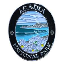 Acadia National Park Walking Hiking Stick Medallion - Daisies, Maine Coastline
