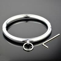 Metall Chrom Halsband Halsring O round Gothic Collar Locking Pin Kostüm UA11