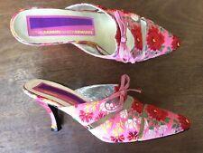 Vtg Susan Bennis Warren Edwards Pink Embroidered Mules Pumps 7.5 Magnificent