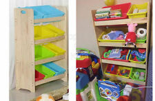 SFK Wooden Toy Shelf with Plastic Bins (Small)