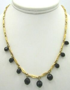 """Stunning Premier Design Dainty Black Glass Beads Gold Tone Necklace 16"""""""