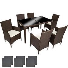 Set di mobili da giardino 6+1 poli rattan alluminio arredamento tavalo sedie nuo