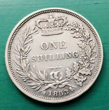 More details for 1853 victoria silver shilling coin #628