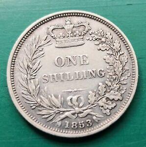1853 Victoria silver shilling coin #628