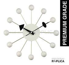 GEORGE NELSON REPLICA MODERN RETRO BALL CLOCK -WHITE - RRP $99 **PREMIUM**
