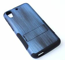 HTC Desire 626 626S - HARD&SOFT RUBBER HYBRID CASE COVER BLUE PLASTIC WOOD ARMOR