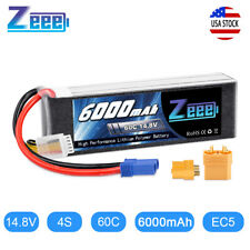 6000mAh 4S 60C 14.8V EC5 Plug LiPo Battery for RC Helicopter Car Truck Boat