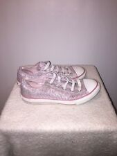Kids size 3 pink and white Silver canvas Converse All Stars Girls