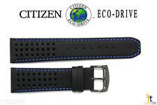 Citizen Eco-Drive B612-S084059 23mm Black Leather Watch Band w/ Blue Stitching