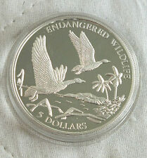 BAHAMAS 1994 $5 WHISTLING DUCKS 1oz .999 SILVER PROOF - endangered wildlife