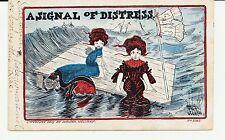 """A Signal Of Distress."" Wellman- Artist Signed. Women In Ocean On Raft."