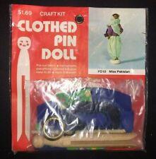 Vintage B Blumenthal Co Clothespin Doll Craft Kit Miss Pakistan