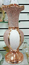 Crushed Diamond Ceramic Rose Gold Vase Diamante Home Decoration Ornament 40cm