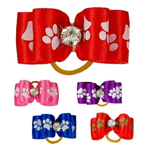 50/100pcs Wholesale Dog Hair Bows with Rubber Bands Paw Print Puppy Accessories