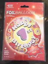 "Happy 1st Birthday Everts Holographic Celebration Foil Helium Balloon 18"""