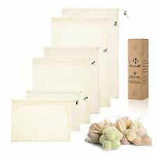Reusable Produce Bags -  Mesh Bags for Shopping and 6-pack Organic Cotton