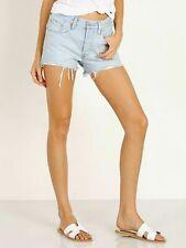 Levi's 501 Womens Button Fly Short Bleached Authentic Denim Jean Shorts Waist 27