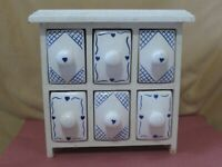 """Vintage Wood Spice Cabinet With Ceramic Drawers 9"""" X 9"""" X 4.5"""""""