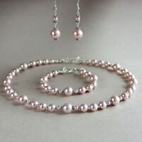 Vintage pink blush pearl necklace bracelet earrings wedding bridal jewelry set