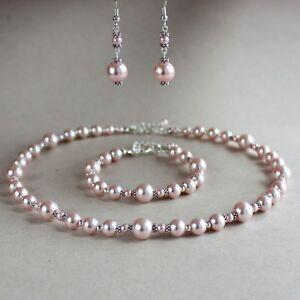 Vintage pink blush pearl necklace bracelet earrings wedding bridal jewelry set