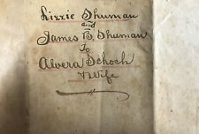 Indentured Servant~Lizzie Shuman~Given up to Faithfully Serve~Adoption/Slave~PA