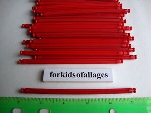 "50 KNEX RED RODS 5 1/8"" Long Pieces Bulk Standard Replacement Parts/Pieces Lot"