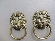 Brass Lion Head Pulls Drawer Handles Loop Cabinet Cupboard Old Vintage Pair