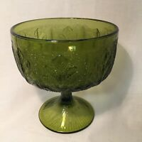 """FTD Vintage 1978 Green Pressed Glass Compote With Stylized Leaf Pattern 6.5 X 6"""""""