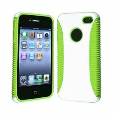 Hybrid Ribbed Case for iPhone 4 / 4S - Green/White