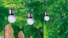 4 X Solar Crackle Glass Ball Light Garden Landscape Lantern Light White LED