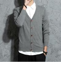 Autumn New Men's Casual V-neck Slim Fit Knit Cardigan Long-sleeved Sweater Coat