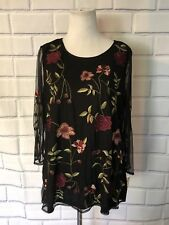 NWT Charter Club Blouse Sz M Black Cranberry Sheer 3/4 Sleeve Floral Top New $89