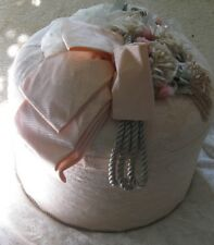 RARE MARCELA VICTORIAN Themed PEACH Hat Box  GIFTS, STORAGE DECOR EXQUISITE