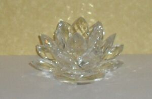 Crystal Lotus Flower Votive/Pillar Candle Holder Shannon Crystal by Godinger