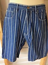 Bill Blass Women's Walking Bermuda Blue Striped Denim Shorts Size 14 New