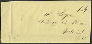 1866 Stampless Cover, Blue Dingle (Huron) CW to Goderich, 14, 2x Unpaid Rate