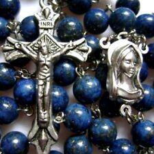 Natural Lapis Lazuli grano del Rosario y Plata Medalla Cruz De Crucifijo Católica Collar