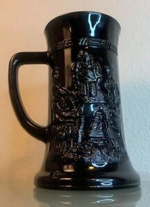 Tiara Glass Black Tavern Tankard Beer Stein Vintage Beer Mug Vintage