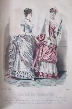 GRAVURE de MODE XIXéme JOURNAL DES DEMOISELLES de 1884 ROBES de SOIREE FEMMES