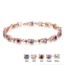 Tennis Bracelet Rhodium Plated Cubic Zirconia Round Bangle Women Chain Jewelry