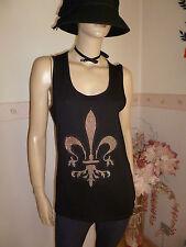 Damen Partytop Basic Shirt m Glamourous Glitzersteinchen in Schwarz Gr.S//36-38