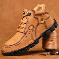 Mens Leather Work Martin Boots Shoes Outdoor Hiking Driving Boat Shoes Moccasins