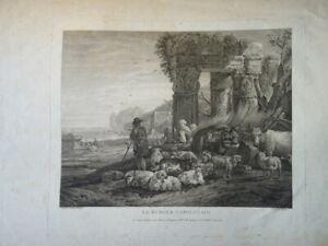 LE VEAU (1729-1786) GRANDE GRAVURE XVIII° BERGER PAYSAGE NAPLES SICILE ITALIE