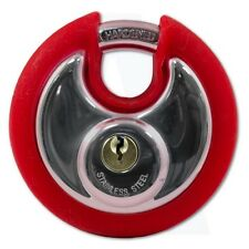 Asec Coloured Discus Padlock Chrome Plated with Red Bumper 2 Keys AS10472