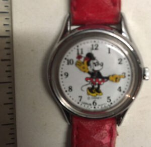Minnie Mouse Watch Red Leather Band Louris Quartz